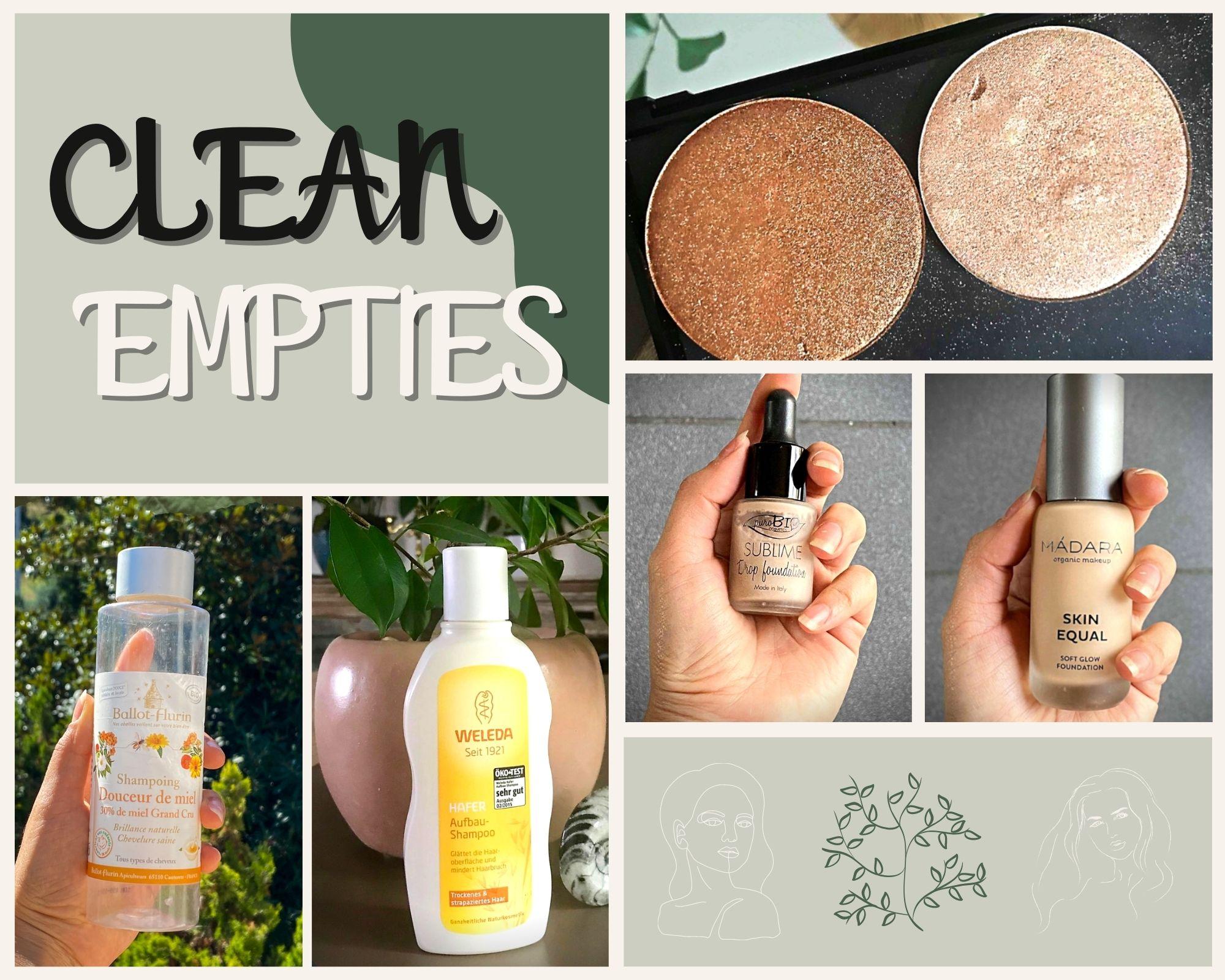 Clean Empties #1 : Un joli teint, des paillettes dans nos vies et des cheveux tout doux